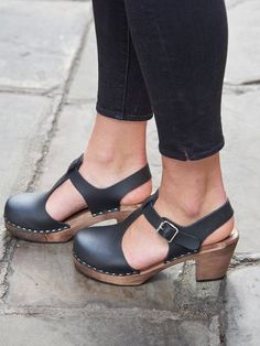 Swedish Clogs Sweden Highwood T-Bar Black Brown Base Leather by Lotta from Stockholm / Wooden Clogs / Sandals / Mary Jane Shoes Clogs Outfit, Clogs Shoes, Heeled Clogs, Closed Toe Sandals, Clog Sandals, Cute Shoes, Me Too Shoes, Lotta Clogs, Lotta From Stockholm