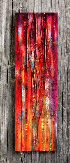 Texture Abstract Painting The Golden Gate, Red and Gold, crackles, big canvas, Sparkles, vertical canvas, twig, Mixed media, glass wall.