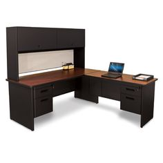 Found it at Wayfair - Pronto Lock and Drawers L-Shape Executive Desk with Hutch