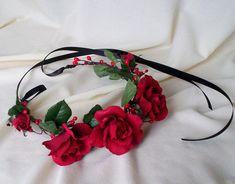 Red rose headband Bridal Flower Crown headpiece by AmoreBride