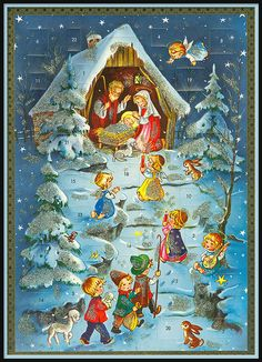 Vintage Nativity Advent Calendar Printed in Germany German Christmas, Christmas Past, Christmas Countdown, Christmas Crafts, Xmas, Christmas Tables, Vintage Christmas Cards, Retro Christmas, Vintage Cards