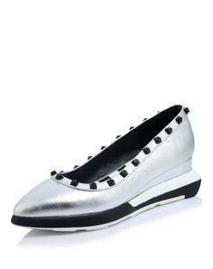 #VIPme Silver Pointed Toe Cow Leather Rivets Studded Wedges ❤️ Get more outfit ideas and style inspiration from fashion designers at VIPme.com.