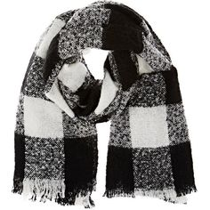 Barneys New York Women's Checked Bouclé Scarf ($59) ❤ liked on Polyvore featuring accessories, scarves, accessories - scarves, black, checkered scarves and barneys new york