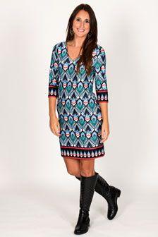 Emily 3/4 Sleeve V Neck Dress-Peacock