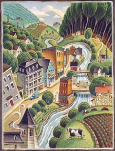 Hardwick Illustrated - an artistic rendering of Hardwick, VT our agricultural mecca.