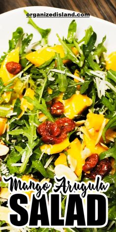 If you want something light but at the same time delicious, then this Mango Arugula Salad is what you've been looking for. It is made easier with only a few ingredients- Arugula, Mango, Cranberries, Almonds, and Parmesan Cheese. In just a few minutes, you'll be able to have this tasty salad. Indulge in this healthy and delicious recipe with your family.#mangoarugulasalad #arugulasalad #mangosalad #mango #salad #healthysalad #healthyrecipe #homemaderecipes #lightmeal