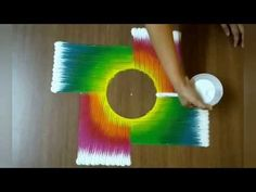 Very elegant colour shading rangoli design | Simple & Easy rangoli design by Jyoshita Ghate| - YouTube