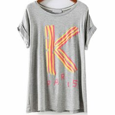 29,90EUR T-Shirt grau mit Druck in pink gelb