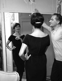 Sophia Loren sharing a laugh with Rossano Brazzi, Beverly Hills, 1959.