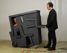'kruikantoor' is a portable office made from EPS foam and covered with a coating of polyurea hotspray