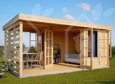 summer house with pergola Backyard Office, Backyard House, Backyard Studio, Backyard Sheds, Tiny House Cabin, Tiny House Design, Garden Shed Interiors, Garden Cabins, Pavillion
