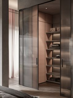 Milano Apartment on Behance Wardrobe Room, Wardrobe Design Bedroom, Bedroom Closet Design, Walk In Closet Design, Closet Designs, Dressing Room Design, Luxury Closet, Spacious Living Room, Door Design