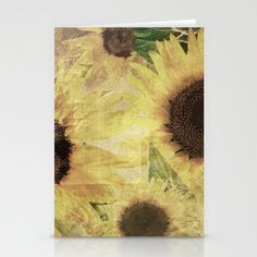 Set of folded stationery cards printed on bright white, smooth card stock to bring your personal artistic style to everyday correspondence.  Each card is blank on the inside and includes a soft white, European fold envelope for mailing.  #sunflower #art , #stationery, #cards