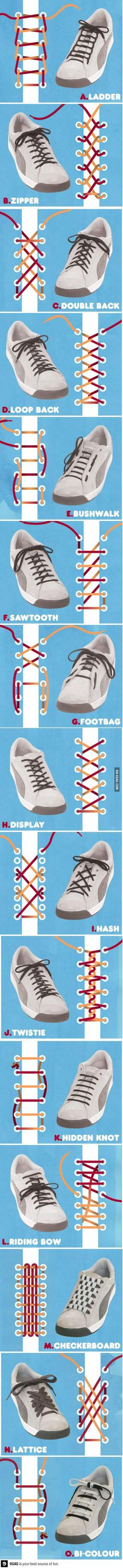 The best DIY projects & DIY ideas and tutorials: sewing, paper craft, DIY. Ideas About DIY Life Hacks & Crafts 2017 / 2018 Who knew there were so many different ways to tie your shoes? Ways To Tie Shoelaces, Your Shoes, Good To Know, Just In Case, Helpful Hints, Life Hacks, Creations, Cool Stuff, My Style