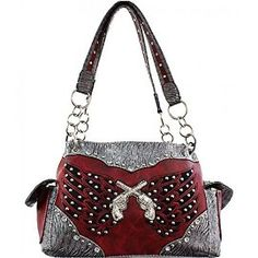 Red and Silver Double Pistol and Wing Purse