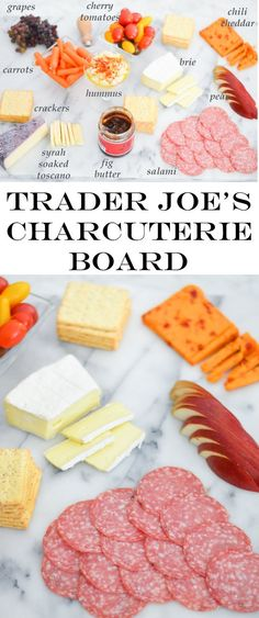 Trader Joe's Charcuterie Board shopping list for less than $30. Appetizers for 10 or dinner for 6-8. Easy Entertaining Last Minute Dinner Party Idea.