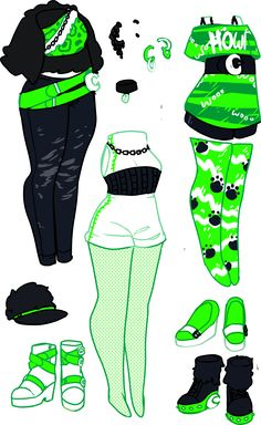 Clawdeeb for my original line, Maul Crawl. Focusing on very bright designs. Clawdeen shaking things up with a big pop of bright green! Clawdeen's other items: Drawing Anime Clothes, Manga Clothes, Dress Drawing, Anime Girl Drawings, Fashion Design Drawings, Fashion Sketches, Anime Outfits, Cool Outfits, Clothing Sketches