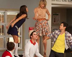 Loving Quinn Fabray's outfit. One on the piano in tan