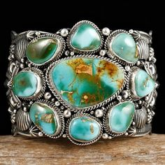 Vintage Turquoise Cuff Bracelet by Navajo Artist Darryl Becenti Coral Turquoise, Turquoise Jewelry, Turquoise Bracelet, Silver Jewelry, Vintage Jewelry, Vintage Turquoise, Silver Rings, Ethnic Jewelry, Navajo Jewelry