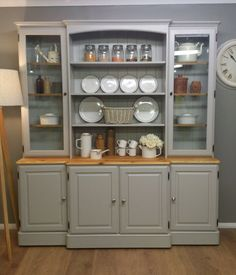 HUGE SOLID PINE FARMHOUSE KITCHEN WELSH DRESSER SHABBY CHIC PAINTED FB  FURNITURE | EBay