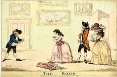 The boxing scene from 'The Romp', Act II, between Young Cockney (left) and Priscilla Tomboy. They face each other with clenched fists. Young Cockney is fashionably dressed and portly, Priscilla's large hat and mittens are on the floor. Behind her (right) stands Captain Sightley in regimentals and Miss La Blond wearing a large hat which conceals her face. Behind them on the extreme right is a folding screen. Framed pictures decorate the wall. 23 December 1785 Hand-coloured etching