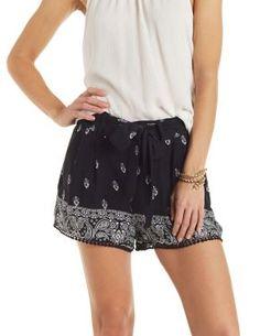 Tie Front Printed Shorts #CharlotteLook