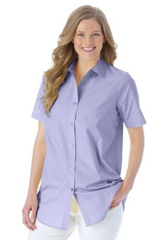 women's plus size shirt in silky peachskin with short sleeves