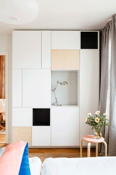 Stunning living room cupboard made from METOD cabinets - from Bambula blog