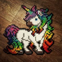 Rainbow unicorn perler beads by hnl_plur