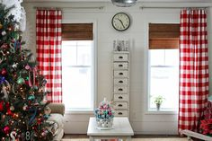 Gingham curtains for Christmas
