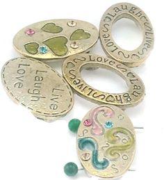 5 gold 2 hole slider Beads c138