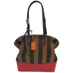 Pre-owned Fendi Borsa Pequin Stripe 8bn232-fkn Brown Red Tote Bag ($1,099) ❤ liked on Polyvore featuring bags, handbags, tote bags, brown red, white tote bag, brown tote, leather handbags, red leather handbag and white leather purse