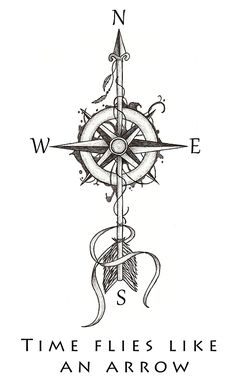 compass arrow tattoo design (without the words)