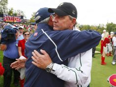 I adore Captain Nick Price. -- International captain Nick Price (R) hugs U.S. captain Fred Couples after the U.S. won the 2013 Presidents Cup golf tournament at Muirfield Village Golf Club in Dublin, Ohio October 6, 2013. REUTERS/Jeff Haynes