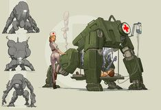 Medical Combat Bot 02 by Sebastian Luca Fantasy Character Design, Character Design Inspiration, Character Concept, Character Art, Robot Concept Art, Armor Concept, Weapon Concept Art, Animal Robot, Arte Steampunk