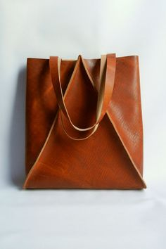 XL Tall Leather Geometric Tote Bag by CrowSLC on Etsy, $430.00