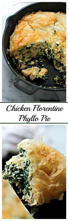 Chicken Florentine Phyllo Pie