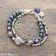 Azurite-malachite and lapis bracelet, Karen Hill Tribe silver jewelry, sterling, rich blue and green multi-strand stackable boho bracelet by NanandBiz