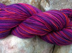 Hand dyed Merino Sock Yarn, Rubellite by BugbearWoolens on Etsy