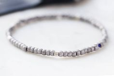 Mens Beaded Light Gray Bracelet by EZRA5 made with Czech glass beads, men's stretch bracelet