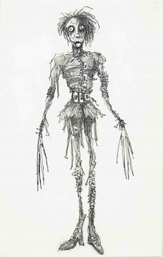 Tim Burton concept sketches for some of his own films. The Nightmare Before Christmas, Mars Attacks!, Edward Scissorhands, Batman, Charlie and the Chocolate Factory, Corpse Bride.