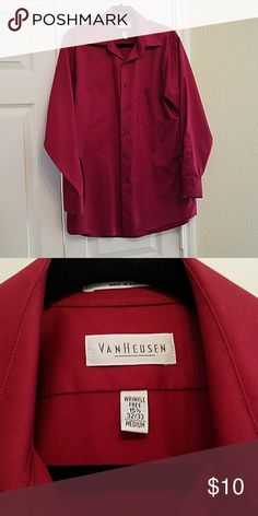 Van Heusen Dress Shirt Dress Shirt in Deep Red! Has a few small stains Shirts Dress Shirts