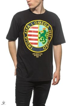 Koszulka T-shirt El Polako Style Alfa I Omega Czarna Crooks And Castles, Stussy, Omega, Streetwear, Clothing, Model, Shirt, Mens Tops, How To Wear