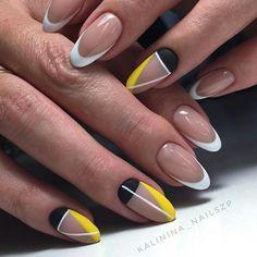 Nail Art Beautiful nails Black and yellow nails, Fashion nails French nails Geometric french nails, Geometric nails ideas, Novelty of fall nails, Original nails Cute Nails, Pretty Nails, Hair And Nails, My Nails, Fall Nails, Negative Space Nails, Almond Shape Nails, Yellow Nails, Stylish Nails