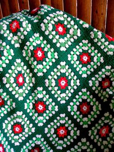 Granny Square Crocheted Afghan Christmas Colors by acquiltfabric, $26.00