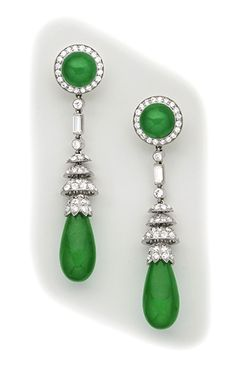 Fine jade, diamond and platinum drop earrings.  Art Deco