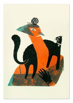 Made by: Mar Hernandez , illustration  - (black cat)