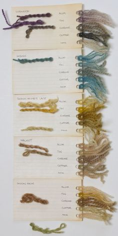 natural dyeing - swatches. To make swatches when I start dying yarn!