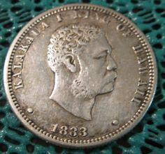 1883 Hawaiian Kalakaua First ¼ Dollar RARE Coin Bullion Coins, Gold Bullion, Us Coins, Rare Coins, Forgotten Treasures, Aloha Spirit, Foreign Coins, Coin Display, Peace Dollar