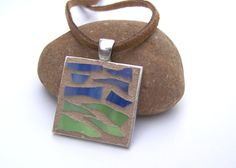 Mosaic Jewelry Recycled Glass Jewelry Stained Glass Pendant Necklace  by bluewaveglass, $30.00